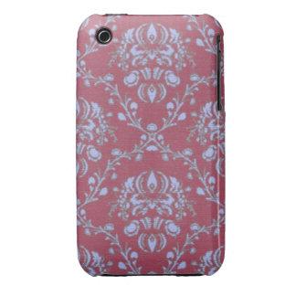 Pretty pink textured vintage art nouveau pattern iPhone 3 Case-Mate case