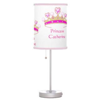Pretty Pink Tiara Royal Princess Crown Custom Name Table Lamp