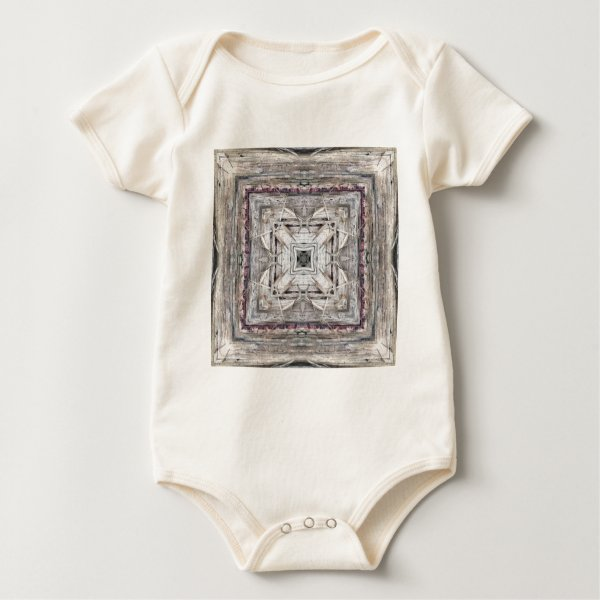 Pretty Pink Tinged Aztec Inspired Pattern Baby Bodysuit