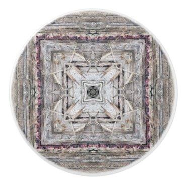 Aztec Themed Pretty Pink Tinged Aztec Inspired Pattern Ceramic Knob