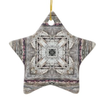 Aztec Themed Pretty Pink Tinged Aztec Inspired Pattern Ceramic Ornament
