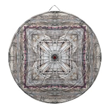 Aztec Themed Pretty Pink Tinged Aztec Inspired Pattern Dartboard With Darts