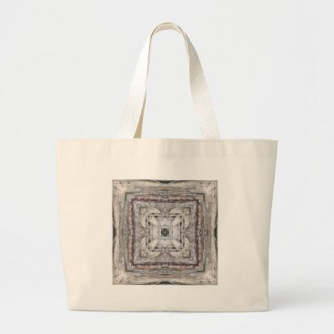 Aztec Themed Pretty Pink Tinged Aztec Inspired Pattern Large Tote Bag