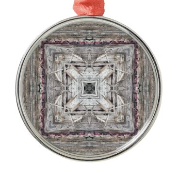 Aztec Themed Pretty Pink Tinged Aztec Inspired Pattern Metal Ornament