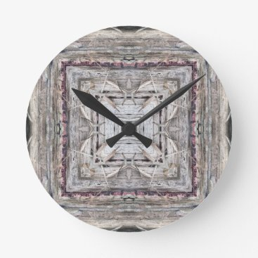 Aztec Themed Pretty Pink Tinged Aztec Inspired Pattern Round Clock