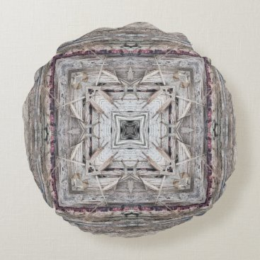Aztec Themed Pretty Pink Tinged Aztec Inspired Pattern Round Pillow