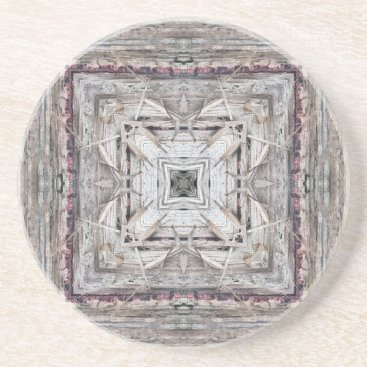 Aztec Themed Pretty Pink Tinged Aztec Inspired Pattern Sandstone Coaster