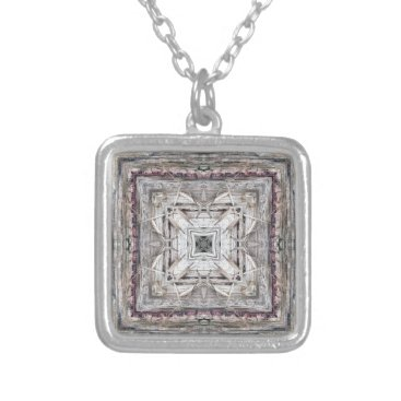 Aztec Themed Pretty Pink Tinged Aztec Inspired Pattern Silver Plated Necklace