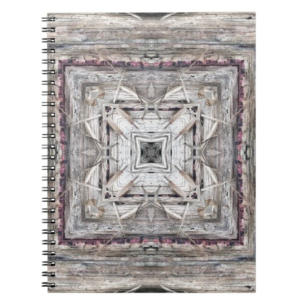 Pretty Pink Tinged Aztec Inspired Pattern Spiral Notebook