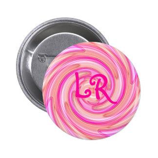Pretty pink tones girly swirl monogram buttons