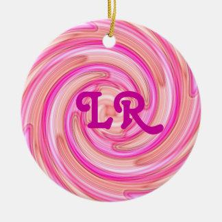Pretty pink tones girly swirl monogram christmas ornaments