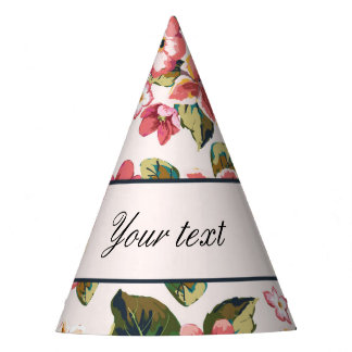 Pretty Pink Tropical Flower Pattern Party Hat