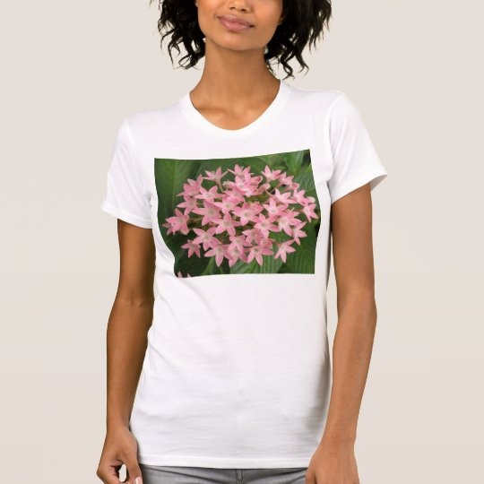 Pretty Pink Tropical Flowers Ladies T Shirt