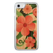 Pretty Pink Tropical Hibiscus Floral Design Wooden Carved iPhone 7 Case