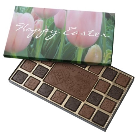 Pretty Pink Tulip Easter Gift Chocolate Boxed