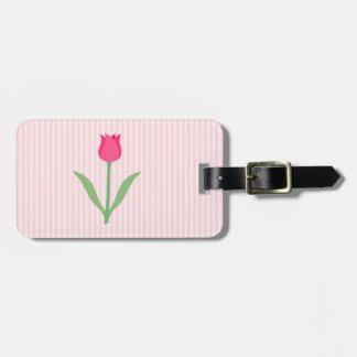 Pretty Pink Tulip Flower. Bag Tag