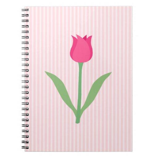 Pretty Pink Tulip Flower. Notebook