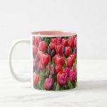 Pretty pink tulip garden print mug