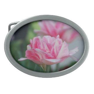 Pretty Pink Tulips Belt Buckles