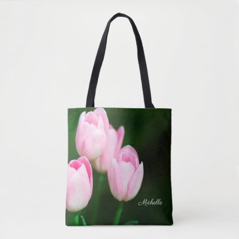 Pretty Pink Tulips Floral Personalized Tote Bag