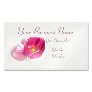 Pretty Pink Tulips Magnetic Business Card
