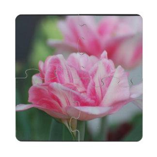 Pretty Pink Tulips Puzzle Coaster