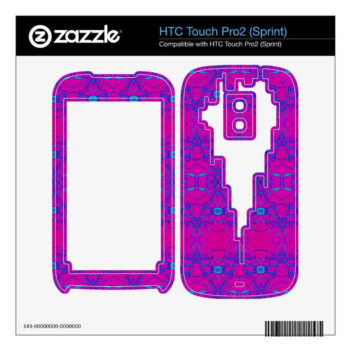 pretty pink turquoise lace look pattern HTC touch pro2 skin
