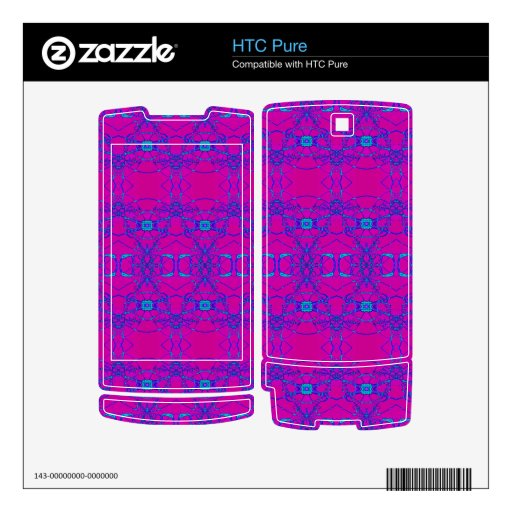 pretty pink turquoise lace look pattern HTC pure skins