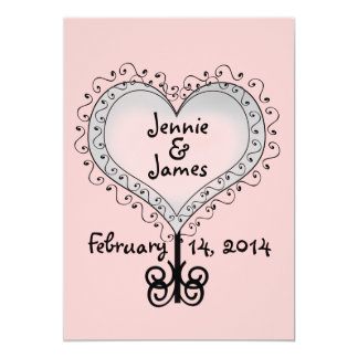 Pretty Pink Two Hearts Names Wedding Invitation