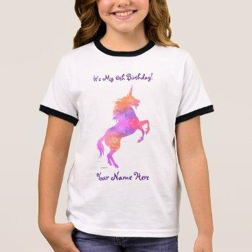 linda_mn Pretty Pink Unicorn Ringer T-Shirt