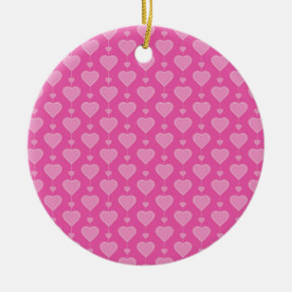 Pretty Pink Valentine Hearts Double-Sided Ceramic Round Christmas Ornament
