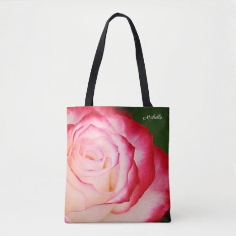 Pretty Pink Variegated Rose Floral Personalized Tote Bag