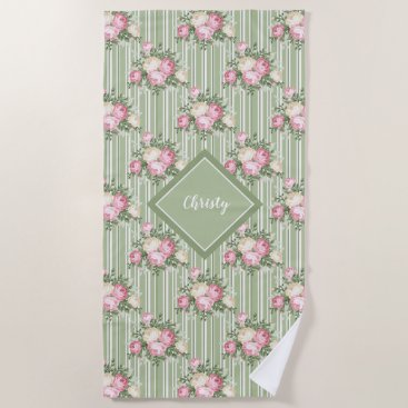 Beach Themed Pretty pink vintage floral bouquet patterned beach towel