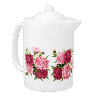Pretty Pink Vintage Floral Hot Beverage Pot Teapot