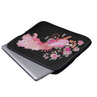 Pretty Pink Vintage Peacock and Blossom Laptop Computer Sleeve