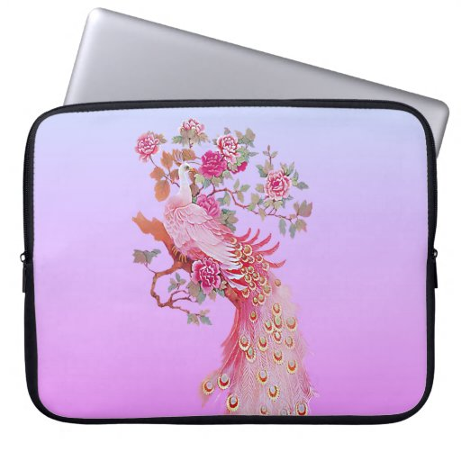 Pretty Pink Vintage Peacock and Blossom Computer Sleeve
