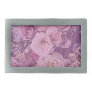 Pretty Pink Vintage Roses Belt Buckle