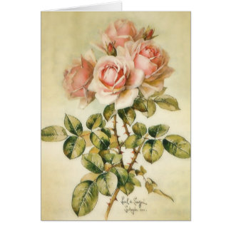 Pretty Pink Vintage Roses Card