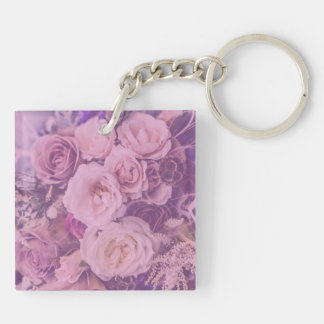 Pretty Pink Vintage Roses Keychain