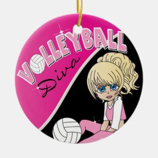 Pretty Pink Volleyball Diva Girl Player Ceramic Ornament