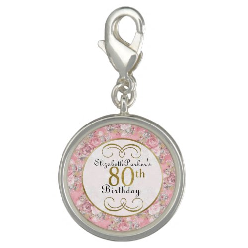 Pretty Pink Watercolor Floral 80th Birthday Charm