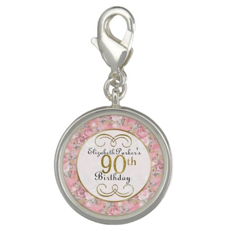 Pretty Pink Watercolor Floral 90th Birthday Charm