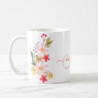 Pretty Pink Watercolor Floral Custom Monogram Name Coffee Mug