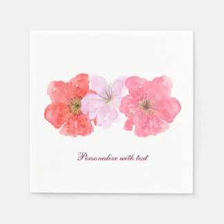 Pretty Pink Watercolor Floral Paper Napkin