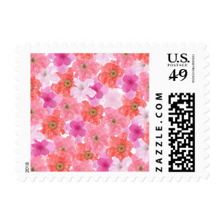 Pretty Pink Watercolor Floral Postage Stamp