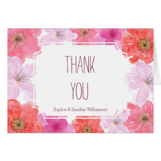 Pretty Pink Watercolor Floral Thank you Card