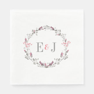 Pretty Pink Watercolor Floral Wedding Paper Napkin