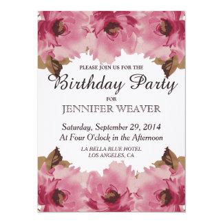 Pretty Pink Watercolor Flowers Pattern Card
