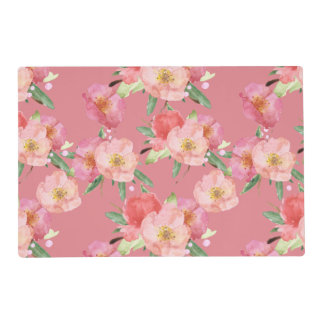 Pretty Pink Watercolor Flowers Placemat