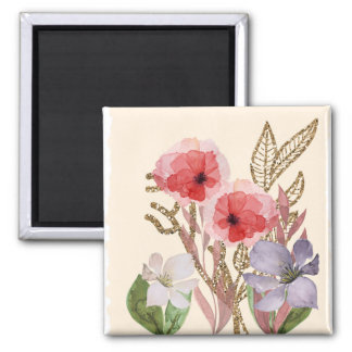 Pretty Pink Watercolor Flowers with Glitter Effect 2 Inch Square Magnet